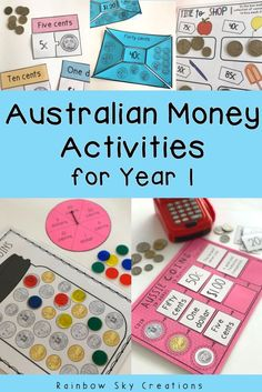 Check out these hands on Australian money activities for Year They include a range of activities based on identifying Australian notes and coins. This resource also includes counting and sorting… Money Activities, Hands On Activities, Learning Activities, Educational Activities, Learning Resources, Teaching Money, Teaching Ideas, Math Rotations, Numeracy