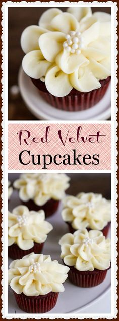 Moist and delicious, these red velvet cupcakes are decorated with pretty cream cheese icing flowers.