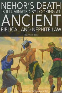 The account of Nehor's life and death is deeply embedded in the context of Nephite law. John W. Welch has explored at length how Nehor's trial and execution are illuminated by looking at both biblical law in general and Nephite law in particular. Book Of Mormon Scriptures, Book Of Mormon Stories, Lds Books, Bible, Family Scripture, Scripture Study, Scripture Journal, Lds Memes, Lds Quotes
