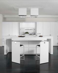 une cuisine blanche et grise Essential Quadra Cucine, par Toncelli
