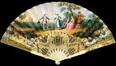 English ivory fan with vellum leaf Dancing in the 18th Century (ca 1750 -1760)