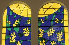 Matisse designed stained glass window in the chapelle du rosaire, Vence, France.