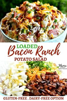 A creamy potato salad made with a homemade ranch dressing, bacon, cheddar cheese, hard-boiled eggs and green onions. All of your favorite flavors from a loaded baked potato. A perfect gluten-free creamy potato salad for yo Loaded Potato Salad, Bacon Ranch Potato Salad, Bacon Ranch Potatoes, Creamy Potato Salad, Potato Salad With Egg, Potato Salad Recipes, Bacon Salad, Baked Potato Salads, Loaded Baked Potatoes