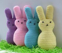 Huggable Easter Marshmallow Bunny Crochet by WhiskersAndWool Easter Crochet, Crochet Bunny, Knit Or Crochet, Crochet Toys, Oster Dekor, Amigurumi Patterns, Crochet Patterns, Crochet Ideas, Plastic Bag Crochet