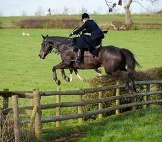 Celebrity Jeweller Philippa Holland hunting side saddle with the Fernie Hunt.  Nico Morgan - insanity!