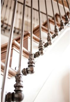 Stair railing detail in Swedish farmhouse   magnolia house design