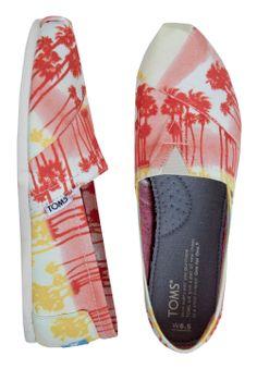 TOMS Orange Palm Trees Shoes