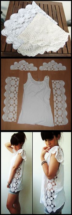 DIY Crochet Doily or Lace Table Runner Tank Top Side Panels (leave out the floppy 'pauldrons'.) DIY Crochet Doily or Lace Table Runner Tank Top Side Panels (leave out the floppy 'pauldrons'. Crochet Diy, Diy Crochet Doilies, Doilies Crafts, Crochet Shirt, Crochet Ideas, Crocheted Lace, Lace Doilies, Crochet Woman, Sewing Hacks