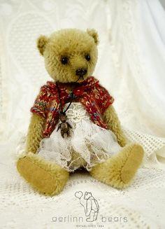 Maggie OOAK Mohair Artist Teddy Bear Girl from by aerlinnbears