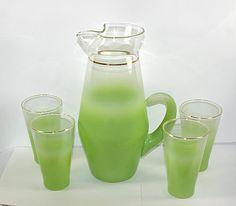 West Virginia Glass Lime Green Blendo Pitcher and 4 Tumbler Glasses MCM Mid Century Modern Green Glass Pitcher Lemonade Set 50s Kitchen