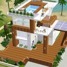 sims 3 house Sims 4 Modern House, Sims 4 House Design, Cute Minecraft Houses, Minecraft Modern, Sims 3 Island Paradise, Sims3 House, Living Room Sims 4, Sims Freeplay Houses, Sims 4 House Plans
