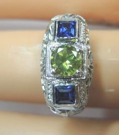 Antique Natural Peridot Engagement Ring .88 Green 18K Art Deco Vintage Art Deco #SolitairewithAccents