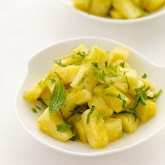 Juicy ripe pineapple is tossed with lime, ginger and fresh mint for a super light and refreshing dessert. Also makes a terrific starter. #recipe #WWLoves