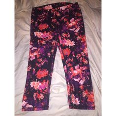 Skinny athletic capris Only worn once in great condition and super comfortable just a bit to small for me  very fun print! Fabletics Pants Capris