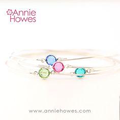 Sterling Silver Wire Bracelet with Swarovski Crystal – Annie Howes