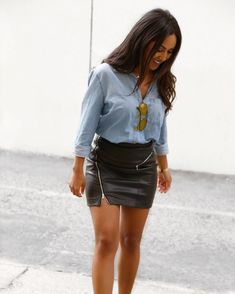 0b8e9e70fc Chic casual way to wear leather skirts (pair it with a denim shirt) 💙