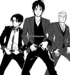 HAHA!! They look so funny!!  Attack on Titan, Eren Jaeger, Levi and Erwin dancing like the swags they are