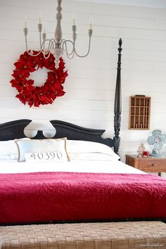 Christmas Decor, ingenious to charming pin - Brilliant decorating tricks to organize a super exciting yet appealing decorating. Pin shared on this date 20191009 , posting reference 5262769718 Christmas Time Is Here, Christmas Home, Country Christmas, Master Bedroom, Bedroom Decor, Bedroom Ideas, Christmas Bedroom, Guest Bed, House Tours