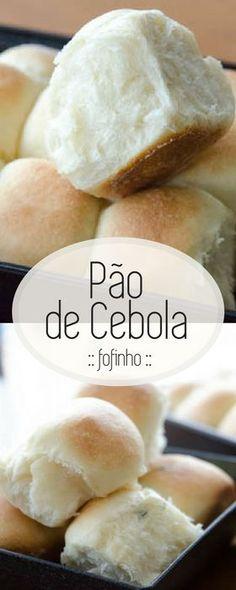 Receita fácil e deliciosa de pão de cebola! Um pãozinho macio, de sabor delicado, perfeito para o café da tarde!
