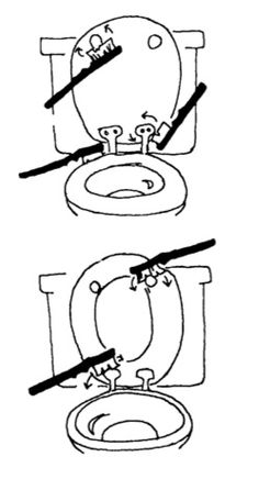 Use a toothbrush to deep clean a toilet. #Tip #Cleaning #Bathroom