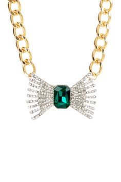 t+j Designs Emerald & Crystal Bow Necklace