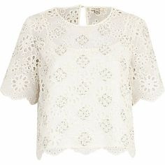 White burnout flower embellished front top £40.00