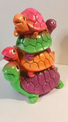Vintage Psychedelic Neon Turtle Pile Coin Bank  by kitschannette