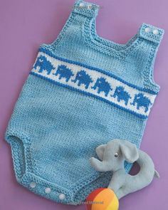 Knitting Pattern for Elephant Baby Onesie - This romper features a band of fair isle elephants. You can replace with other fair isle designs. Sizes 3 months and 6 months. Designed by Daniela Nii.