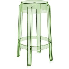 Kartell Charles Ghost Counter Stool ($320) ❤ liked on Polyvore featuring home, furniture, stools, barstools, transparent green, plastic stool, green stool, ghost bar stools, low bar stools and modern outdoor bar stools