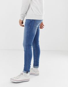 Jack & Jones spray on skinny fit jeans in blue Tight Jeans Men, Jeans Brands, Jack Jones, Super Skinny Jeans, Blue Jeans, Men's Jeans, Tights, Asos, Shirts
