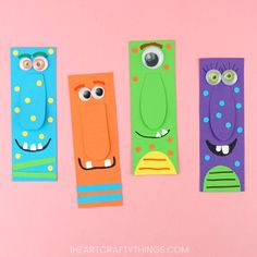 Use our free template to make a colorful big-nosed monster bookmark. Fun Halloween craft for kids and paper crafts. Halloween Class Party, Easy Fall Crafts, Halloween Books, Fall Crafts For Kids, Halloween Crafts For Kids, Paper Crafts For Kids, Bookmarks Diy Kids, Handmade Bookmarks, Corner Bookmarks