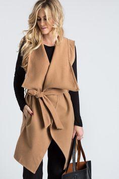 Ivy Sleeveless Camel Coat with Waist Tie