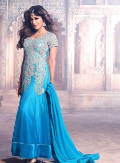 Buy Bollywood Designer Turquoise Anarkali Dress $115.78 .  Buy at - bollywood-ankle-length-anarkali.blogspot.co.uk/2014/07/buy-bollywood-designer-turquoise.html