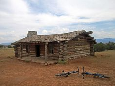 The famous log cabin used during the filming of City Slickers at Ghost Ranch in Abiquiu, New Mexico. It was built for the film.