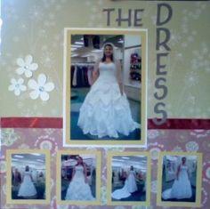 Wedding Scrapbook Single page layout wedding dress Wedding Album Layout, Wedding Scrapbook Pages, Love Scrapbook, Scrapbook Page Layouts, Scrapbook Paper Crafts, Scrapbook Albums, Scrapbook Supplies, Scrapbook Cards, Scrapbooking Ideas