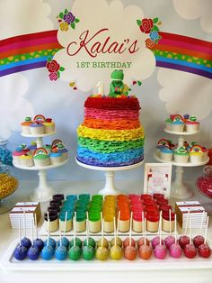 Party Inspirations: Rainbow / Dorothy the Dinosaur Dessert Table by Kouzina Even. - Party Inspirations: Rainbow / Dorothy the Dinosaur Dessert Table by Kouzina Events - My Little Pony Birthday Party, Trolls Birthday Party, Rainbow Birthday Party, Art Birthday, Unicorn Birthday Parties, First Birthday Parties, Birthday Party Themes, Birthday Ideas, My Little Pony Cumpleaños