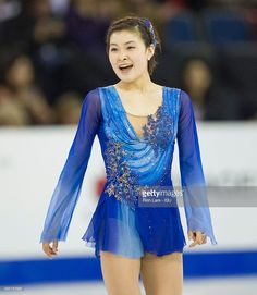 Kanako Murakami of Japan reacts after finishing her skate in the Ladies Free Skate on day two of Skate Canada International ISU Grand Prix of Figure Skating, October, 31, 2015 at ENMAX Centre in Lethbridge, Alberta, Canada.