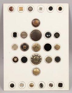 Antique-19c-Group-Brass-Glass-Greek-Key-Variations-Buttons-w-Steel-Cut-Beads