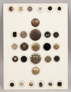 Antique-19c-Group-Brass-Glass-Greek-Key-Variations-Buttons-w-Steel-Cut-Beads