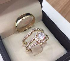 Yellow Gold Over Lab Diamond Wedding Set Trio Engagement Ring His Her Band 3 CT  #Aonedesign #WeddingEngagementAnniversaryPromiseGift