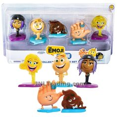 Just Play Year 2017 The Emoji Movie Series 5 Pack 2 Inch Tall Collectible Figure Set - JAILBREAK, GENE, POOP, HI-5 and SMILER Emoji Movie, Packing, Play, Toys, Movies, Collection, Bag Packaging, Activity Toys, Films