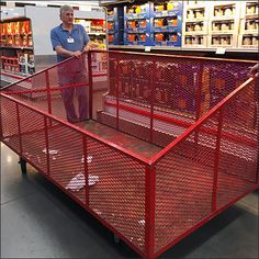 Caught during roll-out at shift change, the size and scope of this Mobile Perforated Metal Bin is far more apparent empty than full. Normally on duty near the Warehouse Club check stands, these bin… Warehouse Club, Expanded Metal, Perforated Metal, Empty, Basket, Mesh, Retail, Plastic, Change