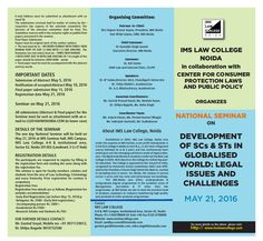 Call for Papers: IMS Law College's National Seminar on Development of SC's & ST's in Globalised World