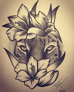Pin by Mishee Mercier On Art in flower crown drawing Flower Crown Tiger Drawing Tiger and Flowers Drawing Tiger Flowers Tigerandflowers Trendy Tattoos, Cute Tattoos, Unique Tattoos, Body Art Tattoos, Sleeve Tattoos, Tiger Tattoo Sleeve, Leo Tattoos, Zodiac Tattoos, Maori Tattoos