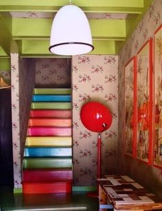 Rainbow Stairs - I wonder if Clay would let me do this in our house :-D