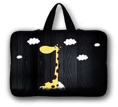"Cute Giraffe Laptop Sleeve Carry Black Bag Case For 17'' 17.3"" HP Dell Samsung"