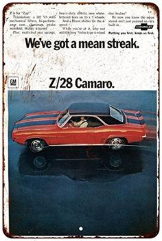 1969 Chevrolet Camaro Z28 Vintage Look Reproduction Metal Sign 8 x 12 8120410 -- More info could be found at the image url.