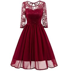 Cheap dress lace, Buy Quality dress vintage directly from China evening party Suppliers: Patchwork Evening Party Dress Lace Women Summer Rockabilly Dresses Vintage Long Chiffon Swing Tunic Robe Vestidos Spring Dresses Casual, Simple Dresses, Elegant Dresses, Nice Dresses, Dress Casual, Dress Summer, Dress Formal, Dress Winter, Summer Outfits