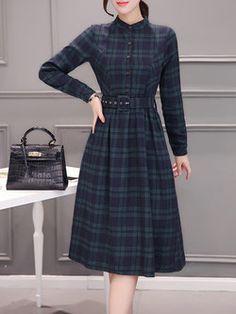 A-line Elegant Checkered/Plaid Dress with Belt