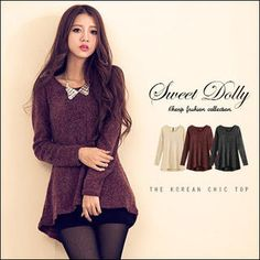 Buy 'Sweet Dolly – Long-Sleeve Dip-Back Wool Blend Top' with Free International Shipping at YesStyle.com. Browse and shop for thousands of Asian fashion items from Taiwan and more!